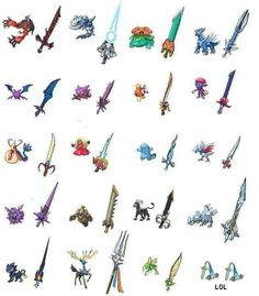 Weapons based on Pokemon.  I think I'll take Kyurem or Dialga. Maybe Kyurem...