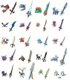 Weapons based on Pokemon.  I think I'll take Kyurem or Dialga. Maybe Kyurem...