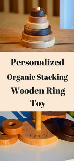 This organic hardwood ring toy is perfect for your little ones first toy.  The seller will engrave your babies name on the bottom ring.  Great for gift giving. #ad #woodentoys #baby