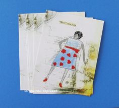 Set of 6 postcards Polly collage and painting by ColetteCopeland, $8.50