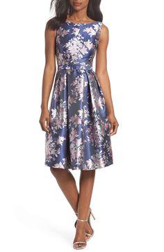 ede4cce9ea0 Eliza J Floral Jacquard Fit   Flare Dress