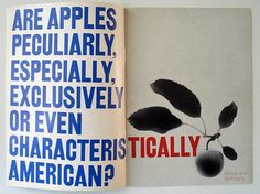 , 'Love of Apples', design Gene Federico / 1960 / The Composing Room, Inc Type Design, Print Design, Gothic Fonts, Herb Lubalin, Collage, Magazine Spreads, Grid Layouts, Book Posters, Magazine Editorial