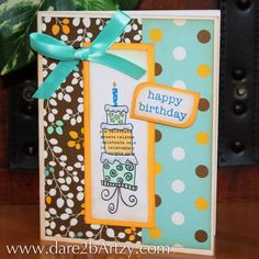Birthdays are natures way of telling us to eat more cake! Love the inside sentiment on this stamped card.