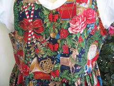 Christmas Print Dress Jumper Bow Buttons Front Pocket by twysp2, $36.00