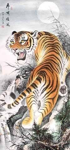 Assertive tiger, chinese ink painting