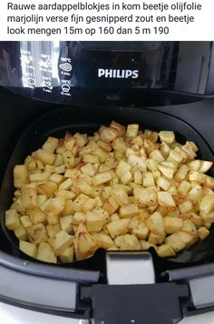 Aardappelblokjes.