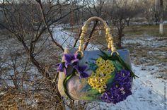 """Купить Арт - сумка валяная """"Сон - трава"""" или Подснежники сибирские - комбинированный, цветочный"""