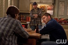 """""""Like a Virgin"""" - Jared Padalecki as Sam, Jim Beaver as Bobby, Jensen Ackles as Dean in SUPERNATURAL on The CW. Photo: Michael Courtney/The CW ©2010 The CW Network, LLC. All Rights Reserved."""