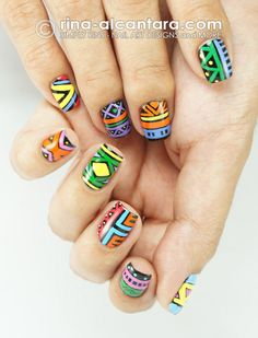 Tribal Nail Art Design..love these. i feel like it would be hard to try though
