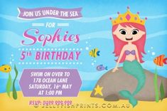 Rugby birthday invitations that you can customise and print. Mermaid Invitations, Birthday Invitations Kids, Party Invitations, Mermaid Birthday, 5th Birthday, Under The Sea Party, Rugby, Thank You Cards, Thank You Greeting Cards