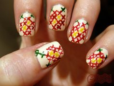 What a stitch! cross-stitch nail polish from the Daily Nail Get Nails, Fancy Nails, Love Nails, How To Do Nails, Pretty Nails, Hair And Nails, Dream Nails, Garra, Daily Nail