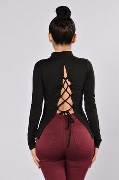 Available in Dark Wine and Black Mock Neck Long Sleeve Lace Up Back Polyester, 4 %Spandex Casual Street Style, Work Casual, Grown Women, Lifestyle Clothing, Sexy Skirt, Cut Shirts, Rompers Women, Fashion Wear, Fitness Fashion