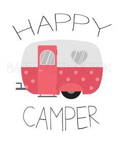 Happy Camper .. Vintage Camper Poster Printable Wall Art by BarefootStudiosOk on Etsy