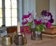 Flowers in silverware