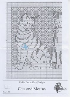 Gallery.ru / Фото #2 - Blackwork_Cats and Mouse - CrossStich1