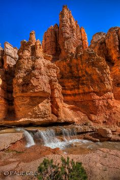 Water Canyon cascade on the Mossy Cave Trail in Bryce National Park, Utah