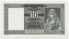10 Dinara 1941 (Überdruckprovisorium) Serbien Serbien unter deutscher Militärverwaltung