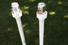 Backyard Makeover With A Fun Game And Cup Holders Pipes Pvc with Pvc Drink Holder Pipe And Fitting Outdoor Crafts, Outdoor Games, Outdoor Projects, Pvc Pipe Crafts, Pvc Pipe Projects, Outdoor Drink Holder, Diy Jardin, Backyard Makeover, Backyard Games