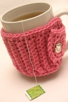 A Crocheted Tea Mug Cozy...for those time I microwave water and my cup get super hot