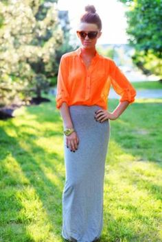 I love the cotton maxi skirt with sheer button-down look for summer. An easy combo that's class/work appropriate.