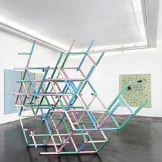 leaning structure sculptures. Donna Huanca Przemek Pyszczek via peresprojects.jpg