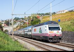 """Re 460 083 got a publicity paint scheme for the swiss retail company """"Coop"""" with inscriptions """"La mia terra"""", """"Ma région"""", """"Mia Regiun"""" and """"Miini Region"""" (""""My region"""" in english). She is pulling doubledeck IR 2523 Geneva Airport - Lucerne near Bossière."""