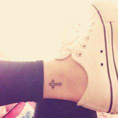 cross tattoo on inside of ankle, prefer it on my wrist instead Cross Tattoo On Wrist, Small Cross Tattoos, Small Sister Tattoos, Cross Tattoos For Women, Ankle Tattoos For Women, Tattoos For Daughters, Small Tattoos, Cross Tattoo Placement, Inside Ankle Tattoos