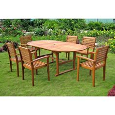 International Caravan Royal Tahiti 'Cordova' 7-piece Oval Butterfly Extension Table Outdoor Dining Set | Overstock™ Shopping - Big Discounts...