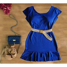 Vestido Azul com Decote nas Costas