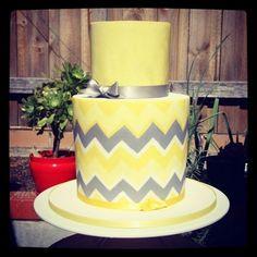 Grey Chevron Baby Shower Cake | Yellow & Grey Chevron Baby Shower Cake