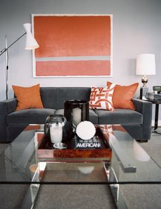 orange accents for living room | Gray and Orange Living Room Decor .