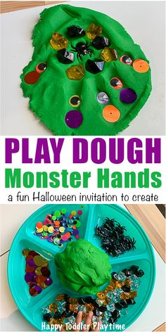 Play Dough Monster Hands - Happy Toddler Playtime Set Up This Fun Halloween Invitation To Create Play Dough Monster Hands Activity For Your Toddler. It's The Perfect After School Activity This Fall. Toddler Preschool, Preschool Activities, Monster Activities, Preschool Education, Preschool Learning, Physical Education, Teaching, Halloween Activities, Halloween Fun