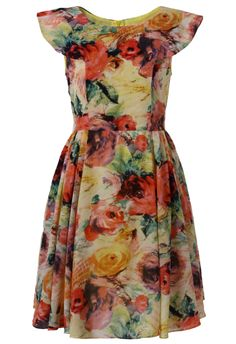 Blooming Retro Floral Painting Dress - Floral - Dress - Retro, Indie and Unique Fashion Floral Fashion, Unique Fashion, Love Fashion, Fashion Beauty, Fashion Dresses, Vintage Fashion, Moda Floral, Dress Me Up, Pretty Dresses