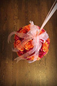 fuchsia and orange rose and peony wedding pomanders - custom order from Psalm117.etsy.com