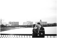 Downtown Norfolk, Virginia Classic Couple Winter Engagement Session | Navy Blue Dress | Black and White Portrait | Virginia Wedding Photographers | Rowlands Photography