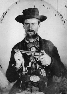 John Jarrette Member of William Clarke Quantrill's Guerrillas He Rode with Quantrill during the raid on Lawrence, Kansas in 1863, and with Bloody Bill Anderson during the massacre at Centralia, Missouri 1864. After the war, Jarrette joined the Jesse James gang, and was a suspect in the robbery of the bank in Kentucky in 1868. In the photo he wears a captured Union waistbelt plate in the photo. via http://thecivilwarparlor.tumblr.com