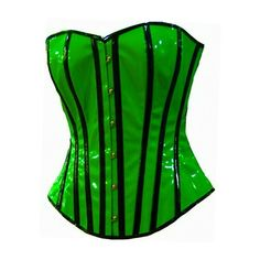3ad12b717f Black Stripe Corset Overbust Basque Steel Busk UV NEON Green ❤ liked on  Polyvore featuring corsets and shirts