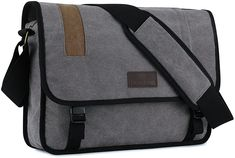 "Amazon.com: Plambag Men's Canvas Messenger Bag 15.3"" Laptop School Shoulder Bag: Clothing Mens Canvas Messenger Bag, Crossbody Messenger Bag, Satchel, Shoulder Bags For School, Camera Bags, Briefcase, School Bags, Hair Style, Laptop"