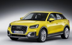 Audi Q2, 4K, 2017, crossovers, yellow audi