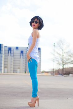 skinny blues and great shoes