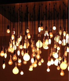 Exposed bulbs in bulk! I like the industrial feel
