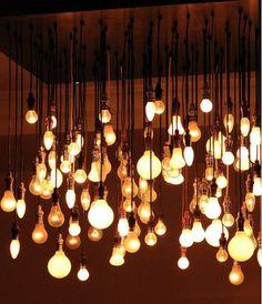 Exposed bulbs in bulk! I like the industrial feel