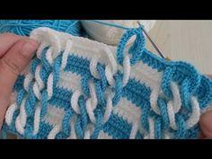 Super Easy 3D Crochet Knitting - Tığ İşi Çok Güzel Örgü Modeli - YouTube Crochet Motifs, Crochet Stitches Patterns, Baby Knitting Patterns, Crochet Designs, Stitch Patterns, Knit Crochet, Different Crochet Stitches, Manta Crochet, Macrame Bag