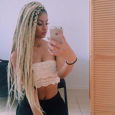 Long blonde box braids hair