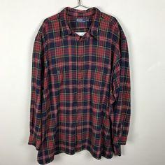 Ralph Lauren Polo Shirt Size 4XLT Tall Heavy Weight Flannel Plaid Red Blue Green #RalphLauren #ButtonFront