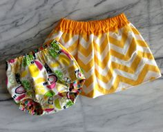 Lemonade Stand Uniform Yellow  Chevron Stripe Skirt and Reversible Bloomer by stunningbaby #summer