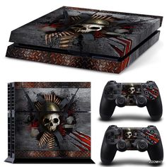 PS4 Playstation 4 Console Skin Decal Sticker Skull Metal Custom Design Full Set #ZoomHit