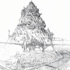 another detailed concept sketch from the ao no exorcist movie. I like how the buildings become more defined as the eye progresses upwards.