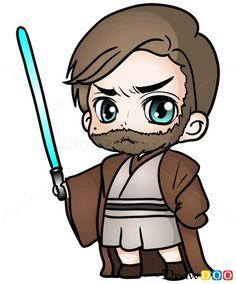 How to Draw Obi-Wan, Chibi Star Wars - How to Draw, Drawing Ideas, Draw Something, Drawing Tutorials portal