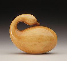 Ohara Mitsuhiro (Japan, Onomichi, 1810 - 1875-08-02)   Gooseneck Gourd, mid-19th century  Netsuke, Ivory with light staining, sumi. LACMA